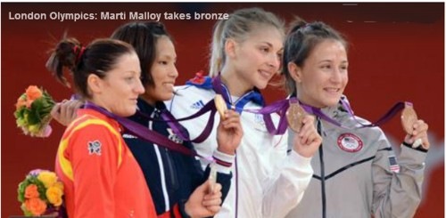 marti malloy receiving her medal
