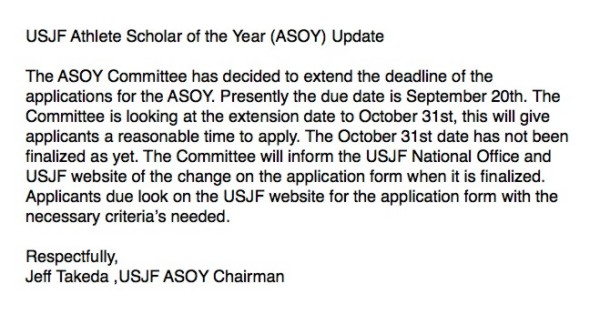 notice of new deadline for asoy