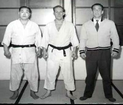 Takahiko Ishikawa, Hal Sharp, and Maurice Gruel at the Keishicho, Tokyo Police Dojo