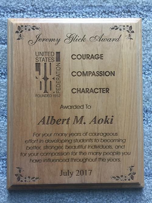 Glick Award letter to Albert Aoki