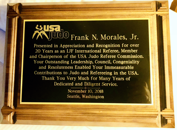 The plaque presented to Frank Morales