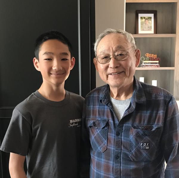 Haruo Makimoto with his grandson, Sebastian