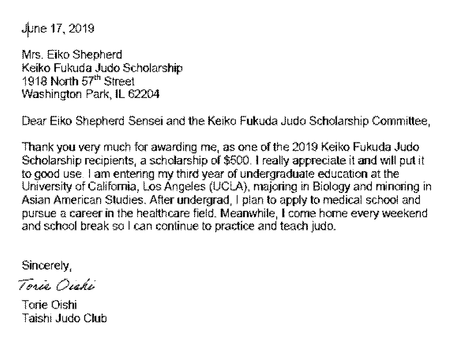 letter from Totie Oishi