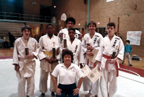 Eiko Shepherd with her scholar athletes