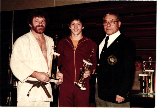 John, pictured with his son, Jo, and Dr. Ashida, placed silver in the First New York State Judo Championship at the College of Staten Island 1983