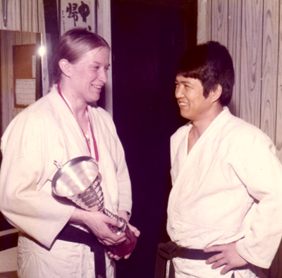 Maureen Braziel and Sensei Shiina with first place trophy from the Swiss Open (Coupe Tet) 1975