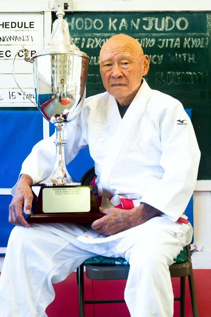 Sensei Tsubota with the Jeremy Glick Award