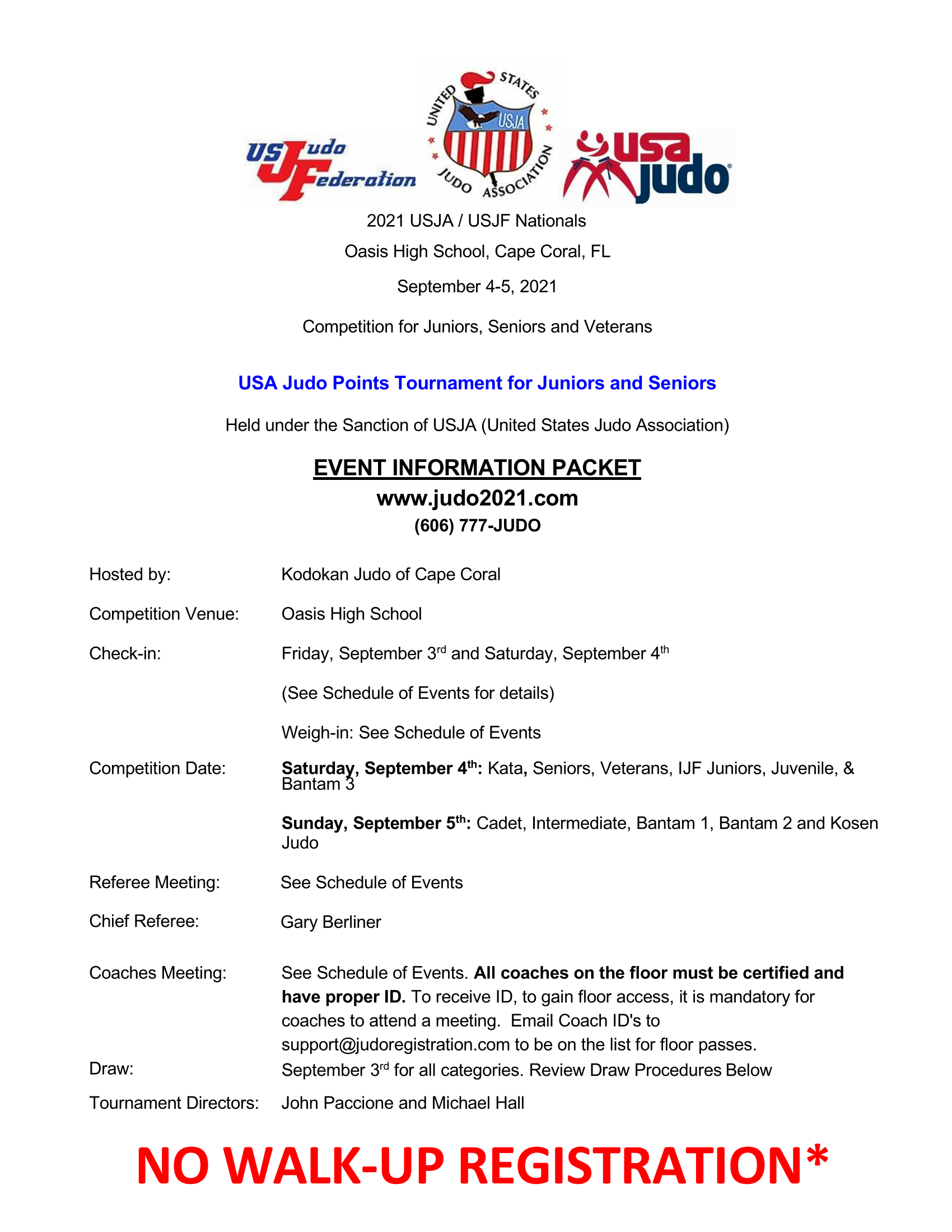 front page of tournament packet from www.judo2021.com